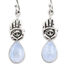 4.84cts natural rainbow moonstone 925 silver hand of god hamsa earrings r48151