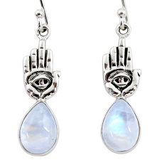 5.11cts natural rainbow moonstone 925 silver hand of god hamsa earrings r48154