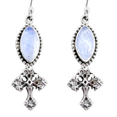 10.74cts natural rainbow moonstone 925 silver holy cross earrings jewelry r66522