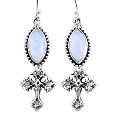 10.31cts natural rainbow moonstone 925 silver holy cross earrings r66523