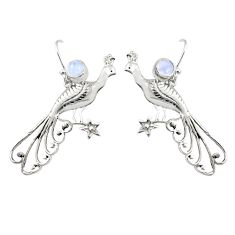 2.19cts natural rainbow moonstone 925 silver peacock charm earrings r67854
