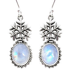 9.10cts natural rainbow moonstone 925 silver snowflake earrings jewelry r66508