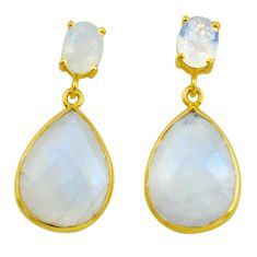 19.98cts natural rainbow moonstone 925 sterling silver 14k gold earrings r31538