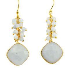 24.49cts natural rainbow moonstone 925 sterling silver 14k gold earrings r31550