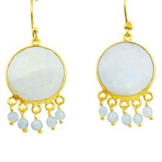 22.14cts natural rainbow moonstone 925 sterling silver 14k gold earrings r31553