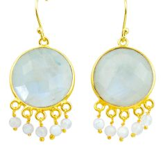 22.14cts natural rainbow moonstone 925 sterling silver 14k gold earrings r31558