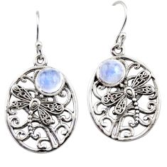 2.62cts natural rainbow moonstone 925 sterling silver butterfly earrings r44969