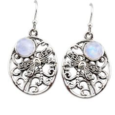 2.57cts natural rainbow moonstone 925 sterling silver butterfly earrings r44970