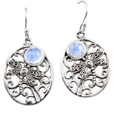 2.68cts natural rainbow moonstone 925 sterling silver butterfly earrings r44972