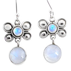 9.61cts natural rainbow moonstone 925 sterling silver butterfly earrings r66582
