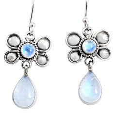 9.49cts natural rainbow moonstone 925 sterling silver butterfly earrings r66583