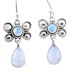9.16cts natural rainbow moonstone 925 sterling silver butterfly earrings r66584