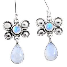 9.53cts natural rainbow moonstone 925 sterling silver butterfly earrings r66587