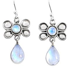 9.49cts natural rainbow moonstone 925 sterling silver butterfly earrings r66588