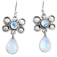 9.16cts natural rainbow moonstone 925 sterling silver butterfly earrings r66589