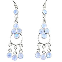 9.16cts natural rainbow moonstone 925 sterling silver chandelier earrings r35672