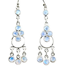 8.89cts natural rainbow moonstone 925 sterling silver chandelier earrings r35673