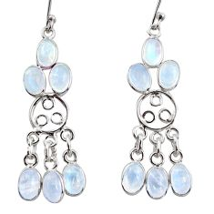 9.57cts natural rainbow moonstone 925 sterling silver chandelier earrings r37419