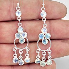 7.75cts natural rainbow moonstone 925 sterling silver chandelier earrings r45059