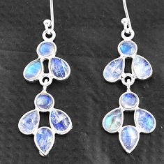 6.68cts natural rainbow moonstone 925 sterling silver chandelier earrings t4698