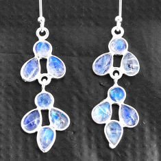 6.68cts natural rainbow moonstone 925 sterling silver chandelier earrings t4700