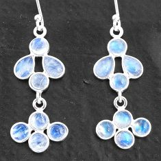 7.01cts natural rainbow moonstone 925 sterling silver chandelier earrings t4819