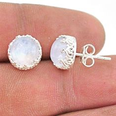 5.86cts natural rainbow moonstone 925 sterling silver crown stud earrings t43678