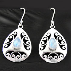 Clearance Sale- 5.75cts natural rainbow moonstone 925 sterling silver dangle earrings d40026