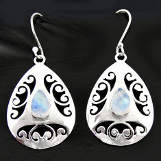 Clearance Sale- 5.24cts natural rainbow moonstone 925 sterling silver dangle earrings d40027