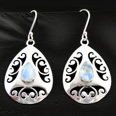 5.41cts natural rainbow moonstone 925 sterling silver dangle earrings d40030
