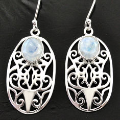 Clearance Sale- 6.24cts natural rainbow moonstone 925 sterling silver dangle earrings d40040