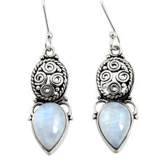 Clearance Sale- 8.92cts natural rainbow moonstone 925 sterling silver dangle earrings d40494