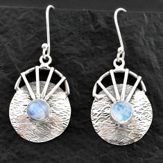 Clearance Sale- 2.94cts natural rainbow moonstone 925 sterling silver dangle earrings d40589