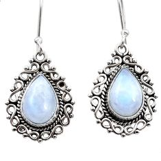 8.77cts natural rainbow moonstone 925 sterling silver dangle earrings d41007