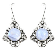 Clearance Sale- 10.37cts natural rainbow moonstone 925 sterling silver dangle earrings d41009