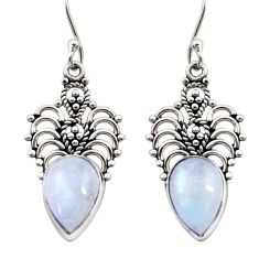 Clearance Sale- 8.37cts natural rainbow moonstone 925 sterling silver dangle earrings d41018