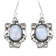 Clearance Sale- 8.05cts natural rainbow moonstone 925 sterling silver dangle earrings d41020