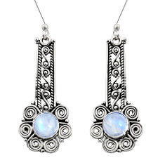 Clearance Sale- 2.65cts natural rainbow moonstone 925 sterling silver dangle earrings d41027
