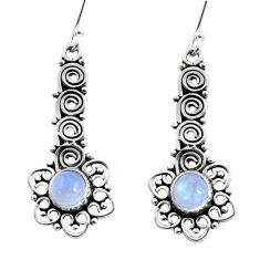 Clearance Sale- 2.46cts natural rainbow moonstone 925 sterling silver dangle earrings d41029