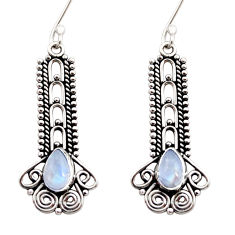 4.05cts natural rainbow moonstone 925 sterling silver dangle earrings d41030