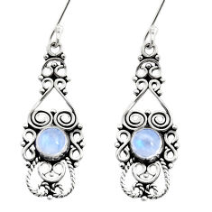 Clearance Sale- 2.42cts natural rainbow moonstone 925 sterling silver dangle earrings d41031