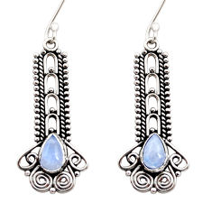 Clearance Sale- 4.40cts natural rainbow moonstone 925 sterling silver dangle earrings d41034