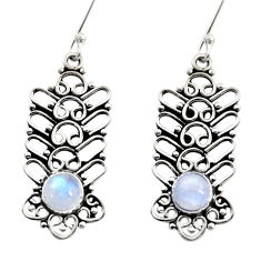 Clearance Sale- 2.52cts natural rainbow moonstone 925 sterling silver dangle earrings d41035