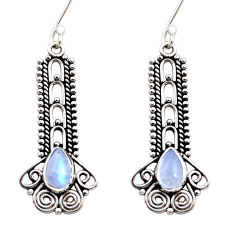 rainbow moonstone 925 sterling silver dangle earrings d41038
