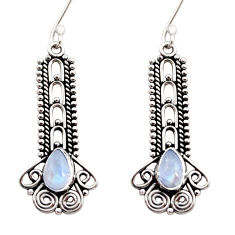 4.52cts natural rainbow moonstone 925 sterling silver dangle earrings d41040