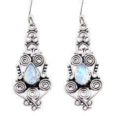 Clearance Sale- 4.53cts natural rainbow moonstone 925 sterling silver dangle earrings d41052