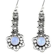 2.44cts natural rainbow moonstone 925 sterling silver dangle earrings d41054