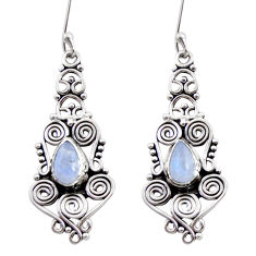 Clearance Sale- 4.38cts natural rainbow moonstone 925 sterling silver dangle earrings d41055