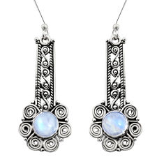 2.83cts natural rainbow moonstone 925 sterling silver dangle earrings d41058