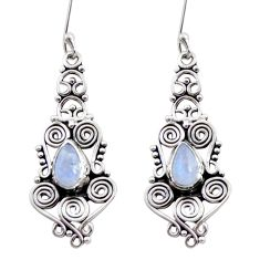 Clearance Sale- 4.52cts natural rainbow moonstone 925 sterling silver dangle earrings d41060